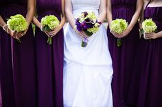 purple and green...so beautiful together, especially for a fall wedding! I love the purple dresses and green bouquets for the bridesmaids, while the bride has a purple bouquet.