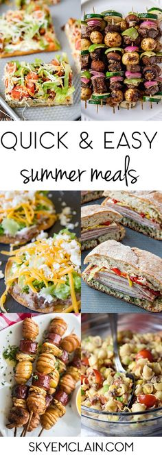 Let's be honest - the last place I want to be in the summer is in the kitchen! Here are a few easy summer meals to keep you fed, happy, and out of the. Easy Summer Dinners, Summer Dinner Ideas, Summer Snacks, Summer Food, Quick Meals, Weeknight Meals, Bbq Meals, Summer Recipes, Easy Dinner Recipes