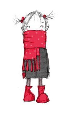 Girl with red scarf Abigail Halpin illustration Illustration Mignonne, Children's Book Illustration, Winter Illustration, Book Illustrations, Art Fantaisiste, Art Mignon, Arte Sketchbook, Whimsical Art, Cute Art