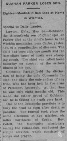 Goverson Parker.  Young son of Chief Quanah Parke and Topay.