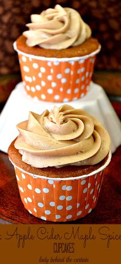 Apple Cider Maple Spice Cupcakes. Stay at Morehead Manor Bed and Breakfast in Durham, NC and enjoy a hearty gourmet breakfast each morning! http://www.moreheadmanor.com