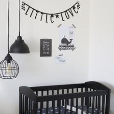 Little Dutch ★ little nursery ★ #littledutch #nursery #black #white #monochrome #crib #poster #whale #littlelove