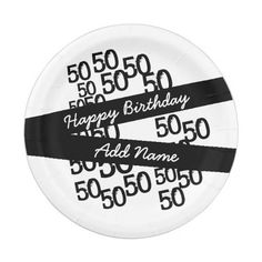 "Personalized Funky Black White 50th Birthday 7"" Paper Plate"