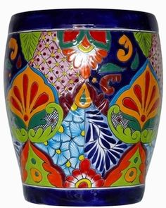 Talavera hand painted garden stool or bench. Perfect for patio or garden area where a side table is needed that adds bold bright colors. Skull Decor, Art Decor, Mexican Patio, Wrought Iron Bench, Painted Rocks, Hand Painted, Flower Pot Design, Moroccan Art, Colorful Throw Pillows
