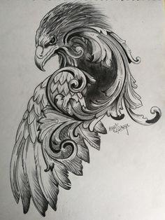 Eagle Tattoos, Dope Tattoos, Body Art Tattoos, Tribal Feather Tattoos, Feather Tattoo Design, Half Sleeve Tattoos For Guys, Japanese Sleeve Tattoos, Tattoo Sketches, Tattoo Drawings
