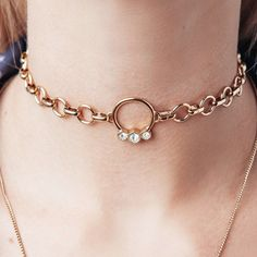 Hex Hoop Choker- Gold ($140) ❤ liked on Polyvore featuring jewelry, necklaces, pendant necklace, long necklaces, long gold necklace, gold pendant necklaces and chain necklace
