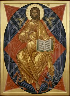 Christ is risen! Jesus Christ enthroned in majesty ( source ) St. Nikodemos of the Holy Mountain on Self-denia. Byzantine Icons, Byzantine Art, Religious Icons, Religious Art, Blacks In The Bible, The Holy Mountain, Roman Church, Religion, Black Jesus