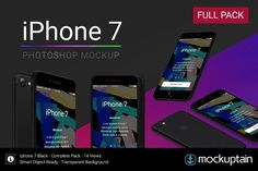 Iphone 7 Mockup Black Full Pack by mockuptain on @creativemarket
