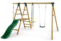 PLUM MEERKAT WOODEN SWING SET Swinging, gliding, climbing or hiding? Plum's Meerkat Wooden Swing Set has all bases covered. The wooden framed swing includes a swing, a two seat glider, knotted climbing rope and a platform with a 6ft slide. Made from Plum's natural round pole timber, the Meerkat swing is designed to bring a piece of the great outdoors into your back garden. It is suitable for ages three years and up.