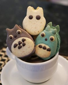 Totoro and Friends French Macarons - with Soot Sprites (1 dozen) on Etsy, $34.00