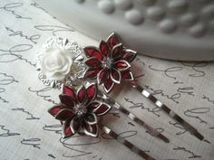 Bobby Pin Set Bridal Hairpins Red by theindoorgardenshop on Etsy