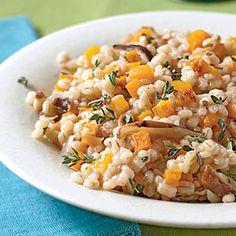 Barley, squash and shitake risotto- really tasty