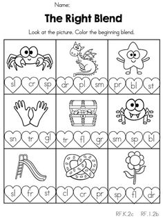 The Right Blend >> Color matching initial consonant blend >> Part of the Valentines Day Kindergarten Literacy Worksheets Check out the website for Kindergarten Math Worksheets, Kindergarten Worksheets, Literacy Activities, Literacy Centers, Teaching Resources, Kindergarten Language Arts, Teaching Reading, Free Printable, Printable Worksheets