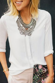 Curating Fashion & Style: Women's fashion | White blouse, silver statement necklace, clutch