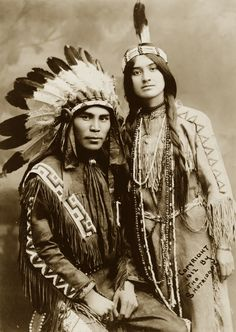 Situwuka and Katkwachsnea, a Native American couple of the Tlingit People 1912. Photo by the Shortridges
