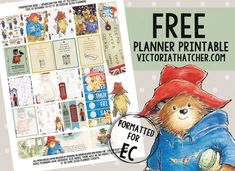 Free Printable Paddington Bear Planner Stickers from Victoria Thatcher