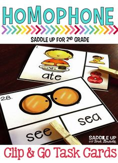 These clip cards focus on reviewing and practicing homophones. They are perfect for small group instruction, centers and word work or for an early finisher activity. Have your students use a clothes pin to clip the correct answer!