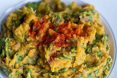 Garlic Pumpkin Mashed Potatoes with Spinach