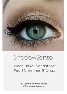 Neutral shimmer with a bold liner. Classy!  With ShadowSense in Onyx, your perfect cat eye will stay sharp all day! Yep, ShadowSense doubles as a long wearing, water resistant, smudge proof liner.