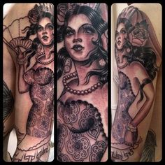 Rose Hardy is a painter and tattoo artist working at Kings Avenue Tattoo in New York City. Pin Up Girl Tattoo, Pin Up Tattoos, Rose Tattoos, Girl Tattoos, Tattoos For Women, Tatoos, Tattoo Girls, Arm Tattoo, Sleeve Tattoos