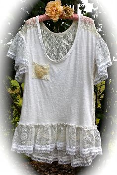 Romantic Boho Lacey Tee Shirt Gypsy Shabby Chic Hippie by IzzyRoo, $38.00