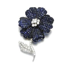 SAPPHIRE AND DIAMOND BROOCH, ALETTO BROTHERS