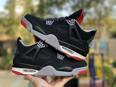 "best sneakers 3f632 b523e 2019 Air Jordan 4 ""Bred"" Black Cement Grey-Summit White-Fire Red 308497-060"