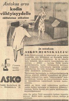 Antakaa arvo kodin viihtyisyydelle tällaisina aikoina ja ostakaa Askon huonekaluja! - Askon vanha lehtimainos vuodelta 1940