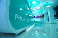 Sensory Experience at Pharma Plus Designed by H Studio Drugstore Foundation, Visual Merchandising, Pharmacy Design, Retail Store Design, Branding Materials, Design Furniture, Sliding Glass Door, Studio, Cooking