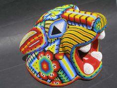 Huichol beaded jaguar mask