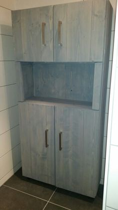 Steigerhout badkamerkast - greywash ( flexa grondverf grijs)