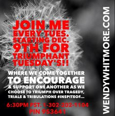 TRIUMPHANT TUESDAYS...  Join me EVERY Tuesday starting December 9th for Triumphant Tuesday's!! Where we come together to encourage & support one another as we CHOOSE To Triumph Over Tragedy, Trials and Tribulations #INSPITEOF...  This motivational call will help YOU on the JOURNEY to HEALING YOUR HEART. Please feel free to share the dial-in info and don't forget to set a reminder alert in your phone.  The call will start at 6:30pm PST. Dial-in: 1-302-202-1104 PIN 953641