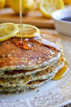 Lemon Poppy Seed Pancakes ~ a light citrusy recipe perfect for a special spring brunch, or any time you just want to treat yourself to something special! Breakfast Desayunos, Breakfast Dishes, Breakfast Recipes, Breakfast Healthy, Perfect Breakfast, Breakfast Casserole, Best Pancake Recipe, Pancake Recipes, Quiche Recipes