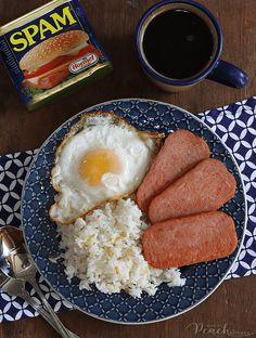Spam Breakfast Recipe, Filipino Breakfast, Breakfast Recipes, Peach Kitchen, Asian Recipes, Healthy Recipes, Good Food, Yummy Food, Tasty