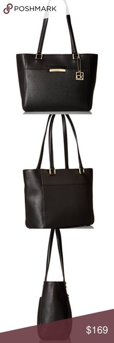"Calvin Klein Womens Pebble Tote Bag Leather Black Pebble Imported 100% Man Made Materials lining Magnetic Snap closure 11"" shoulder drop 10"" high 11"" wide Rowan pebble tote Calvin Klein Bags Totes"