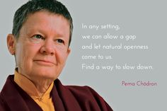 """Letting natural openness come to us ~ Pema Chödron http://justdharma.com/s/miu9u  In any setting, we can allow a gap and let natural openness come to us. Find a way to slow down.  – Pema Chödron  from the book """"Taking the Leap: Freeing Ourselves from Old Habits and Fears"""" ISBN: 978-1590309810  -  https://www.amazon.com/gp/product/1590309812/ref=as_li_tf_tl?ie=UTF8&camp=1789&creative=9325&creativeASIN=1590309812&linkCode=as2&tag=jusdhaquo-20"""