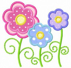 Three daisy flowers applique machine embroidery design. $4.00, via Etsy.