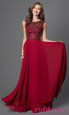 Long Prom Dress with Beaded Top at PromGirl.com