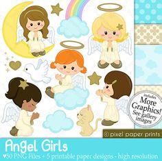 Angel Girls Digital paper and clip art set by pixelpaperprints