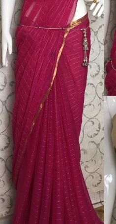 *chiffon checks Jari boder Saree Without Blouse * at ₹609.  (PID: 103026) *chiffon checks Jari boder Saree Without Blouse *chiffon sarees *free shipping *  *Note 👉 only dry wash *