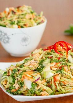 This simple Thai chicken salad has incredible flavors - peanuts, mint, honey and lime. Topped with a delicious homemade dressing. Healthy and fresh.