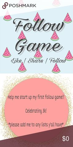 FOLLOW GAME ⭐️⭐️⭐️ Starting my first follow game!! If you could share or tag anyone that'd be great! Thank you so much in advanced 😊 I'm trying to find active accounts so I'll be following a lot!!! Other
