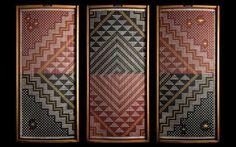 Te Ao Hurihuri (The changing world), tukutuku (woven wall panel), by James and Catherine Schuster, Te Rōpū Raranga Whatu o Aotearoa (National Collective of Māori Weavers in New Zealand). Photograph © Craig Robertson, Full Frame Photography Ltd. Hawaiian Tribal Tattoos, Samoan Tribal Tattoos, Maori Tattoos, Flax Weaving, Paper Weaving, Weaving Art, Maori Patterns, Flax Flowers, Cultural Crafts