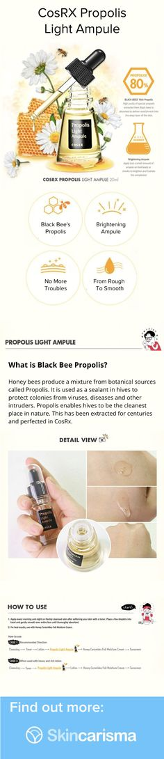 Check out CosRX propolis light ampule! see why so many people like it and what it can do for your skin! Find out more about the ingredients on Skincarisma! Bee Propolis, Black Bee, Cosrx, Skincare, Cleaning, People, Check, Beauty, Products