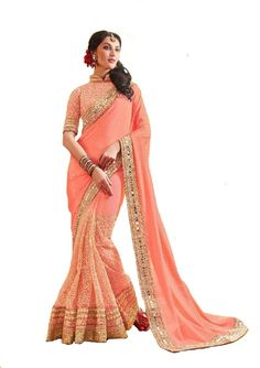 Shoppingover Indian Bollywood party wear embroidery saree-Blouse for women-Pink Color Bollywood Party, Bollywood Wedding, Indian Bollywood, Saree Wedding, Bridal Sarees, Pakistani, Mirror Work Saree, Designer Sarees Wedding, Wedding Saree Collection