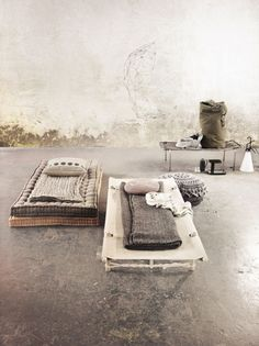 Rustic beds on floor