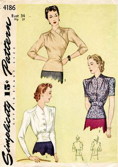 1940s Blouse in three styles. Styles I and II fasten in front with a smart, four-button closing and the neckline is collarless. Rounded shoulder yokes introduce soft, bodice fulness. The curved waist yoke slims the waistline and may be waist or hip length. In Style III, the long surplice blouse fits snugly over the hips and is moulded with gathers in the waistline. Make the sleeves long, three-quarter length or short. Bust 34 Waist 28 Hip 37 ★ ★ ★ ★ ★ ★ ★ ★ You will receive a high quality…