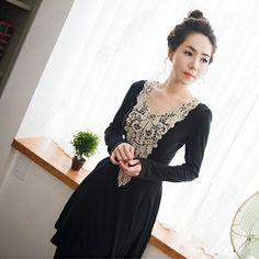 Discount China china wholesale Womens Sweet Gorgeous Slim Waist Round Neck Long Sleeve Lace Embroider Dress [31514] - US$18.99 : Bluelans