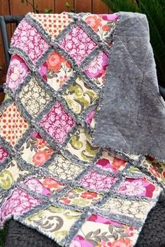 rag quilt - minky (for back), flannel (for batting) and cotton squares, 2.5 yards of each layer.