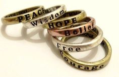 Insomnia Exclusive Lingerie Boutique | Popular Vintage Punk-style Lettering Wishing Rings-Hope, Love, Peace, Wisdom, Luck, Free, Belief, Courage
